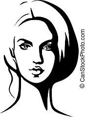 美しい女性, アウトライン, -, 若い, イラスト, 黒, 肖像画