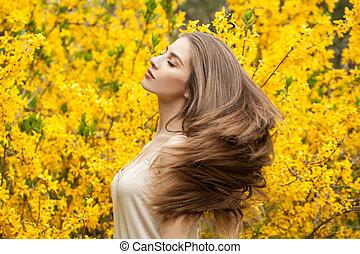 美しい女性, カラフルである, 朗らかである, 背景, 肖像画, outdoors., 花, 女の子