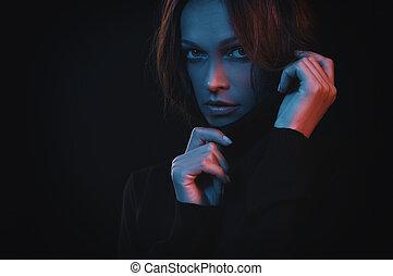 美しい女性, カラフルである, 顔, フィルター, 肖像画