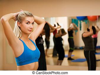 美しい女性, クラブ, 若い, フィットネス, スポーツ, 練習