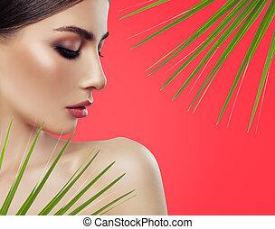 美しい女性, クローズアップ, 若い, 葉, treatment., バックグラウンド。, 緑, 美顔術, 肖像画, 赤