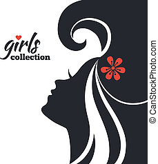 美しい女性, シルエット, 女の子, コレクション, flowers.
