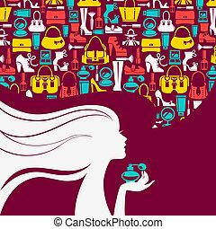 美しい女性, シルエット, girl., 買い物, icons., 優雅である, ファッション意匠, 流行, 泡