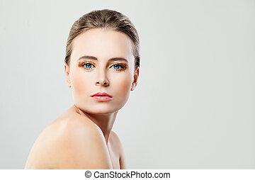 美しい女性, スペース, 健康, 背景, 皮膚, モデル, コピー