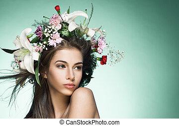 美しい女性, スペース, text., wreath., 花