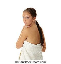 美しい女性, タオル, 若い