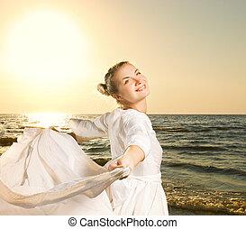 美しい女性, ダンス, 若い, 日没 浜