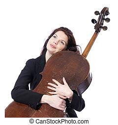 美しい女性, チェロ, に対して, ブルネット, スタジオ, 背景, 抱擁, 白