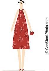 美しい女性, デザイン, 服, あなたの, 赤