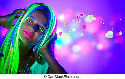 美しい女性, ネオン, light., 若い, ディスコ, メーキャップ, 蛍光, 女の子