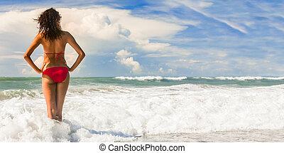 美しい女性, ビキニ, 後部, 浜, 赤, 光景