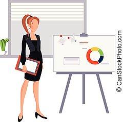 美しい女性, ビジネス, 若い, 提出すること, ポインター, 板