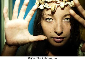美しい女性, ブルネット, 若い