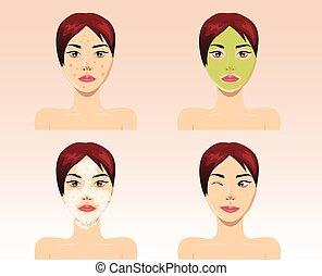 美しい女性, プロセス, ニキビ, 顔, 待遇, ベクトル