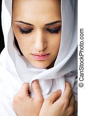 美しい女性, ベールで覆われる, 顔