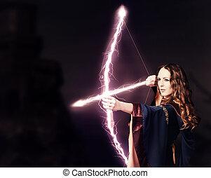 美しい女性, マジック, 弓, 射手, 妖精