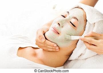 美しい女性, マスク, 若い, 美顔術, 粘土
