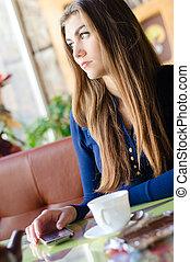 美しい女性, モデル, 若い, 電話, 待つこと, 呼出し, 単独で, カフェ
