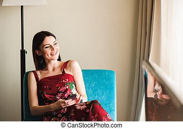 美しい女性, モビール, 若い, 家電話