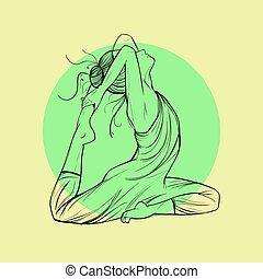 美しい女性, ヨガの 姿勢