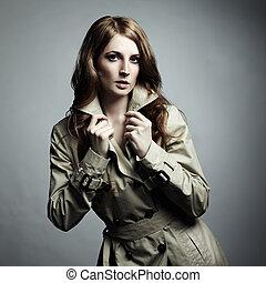美しい女性, レインコート, 若い, ファッション, 肖像画