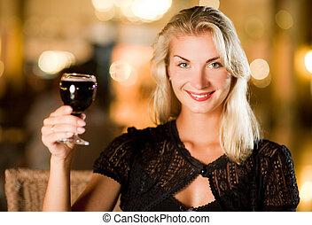 美しい女性, レストラン, 若い, 飲むこと, 赤ワイン