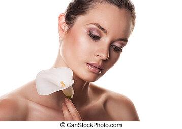 美しい女性, 上に, skincare, 花, 白