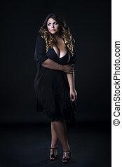 美しい女性, 下着, 若い, プラス, 背景, 黒, モデル, 大きさ, コーカサス人, xxl