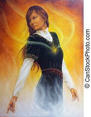 美しい女性, 中世, 絵, 若い, ra, 衣類