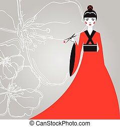 美しい女性, 保有物, さくらんぼ, 寿司, 日本語, 着物, 箸, 背景, blossoms., 赤, 線である