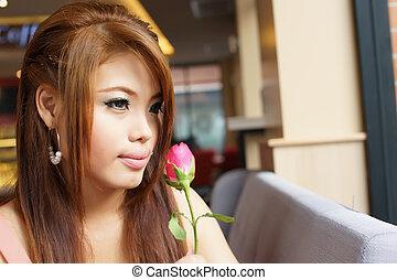 美しい女性, 保有物, バラ, 若い, cafe., 肖像画, 赤