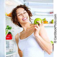 美しい女性, 健康, 若い, 冷蔵庫, 食物, diet.