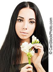 美しい女性, 健康, 若い, 毛, 皮膚