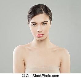 美しい女性, 健康, 若い, model., 女性, 皮膚