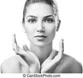 美しい女性, 健康, 若い, skin., きれいにしなさい
