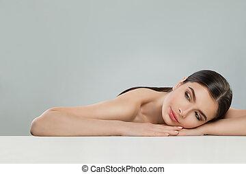 美しい女性, 健康, 若い, skincare, 薬, 待遇, 美顔術, 審美的である, skin.