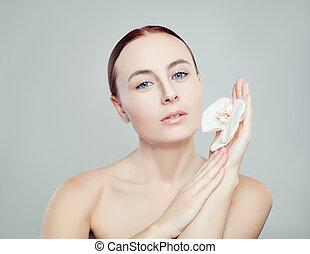 美しい女性, 健康, concept., skincare, 花, 背景, 皮膚, エステ, 白
