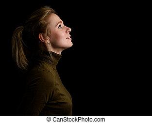 美しい女性, 光景, 若い, 側