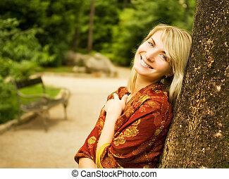 美しい女性, 公園, 若い, 弛緩