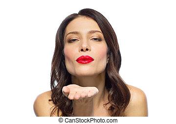 美しい女性, 口紅, 空気, 吹く接吻, 赤