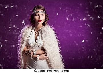 美しい女性, 古い, 宝石類, 美しさ, 女性, 真珠, ファッション, レトロ, 作られた, 肖像画, 服, 贅沢