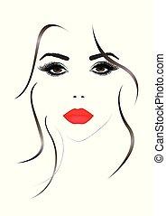 美しい女性, 唇, イラスト, 顔, ベクトル, 肖像画, セクシー, 赤