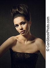 美しい女性, 型, 上に, 暗い背景, 肖像画