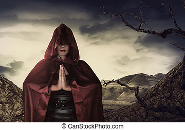 美しい女性, 外套, 魔女, アジア人, 祈ること, 赤