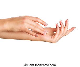 美しい女性, 女性, concept., フランスのマニキュア, 手, エステ, hands.