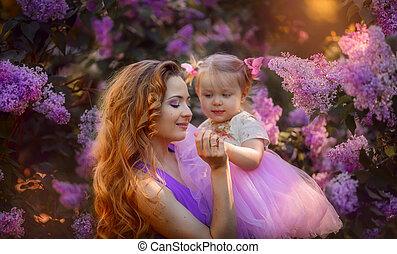 美しい女性, 娘, 花, 公園, 若い