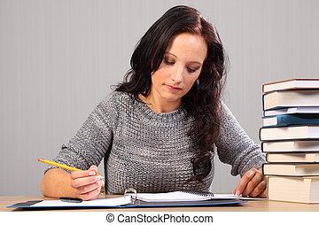 美しい女性, 学生, 勉強しなさい, 女性, 家