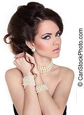 美しい女性, 宝石類, beauty., 夕方, make-up., 写真, ファッション