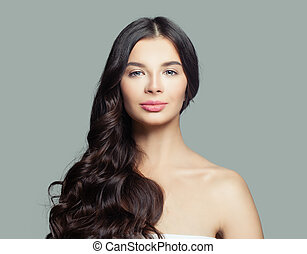 美しい女性, 巻き毛, 健康, beauty., 長い髪, ブルネット, 皮膚