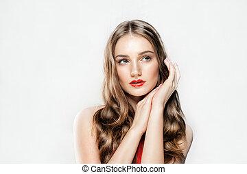 美しい女性, 巻き毛, 構造, 美容術, 若い, 長い間, 皮膚, 待遇, 美顔術, hair., 新たに, 美しさ